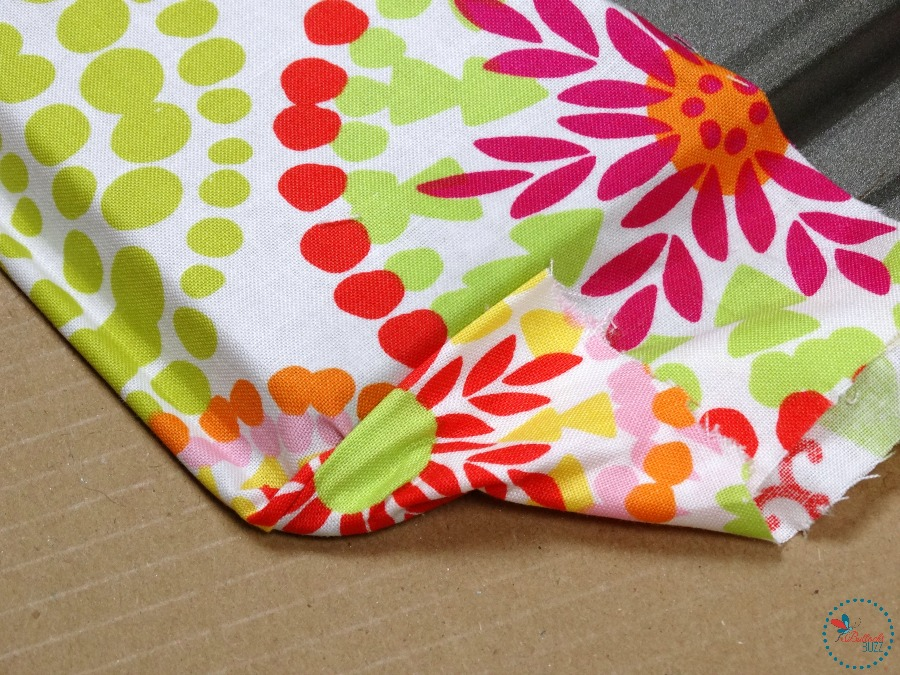 DIY Fabric Covered Tray fold corners