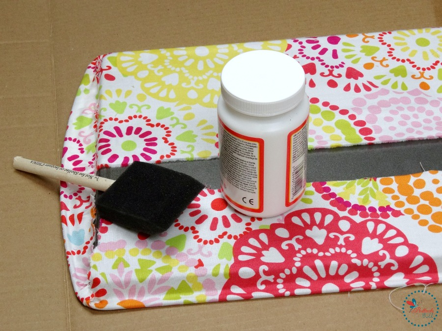 DIY Fabric Covered Tray add Mod Podge