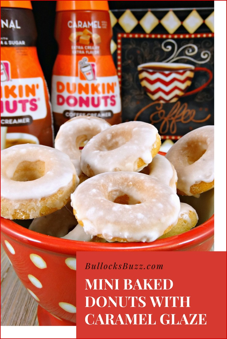 These soft and delicious Mini Baked Donuts with Caramel Glaze are the perfect compliment to your morning coffee and are sure to brighten upyour day!
