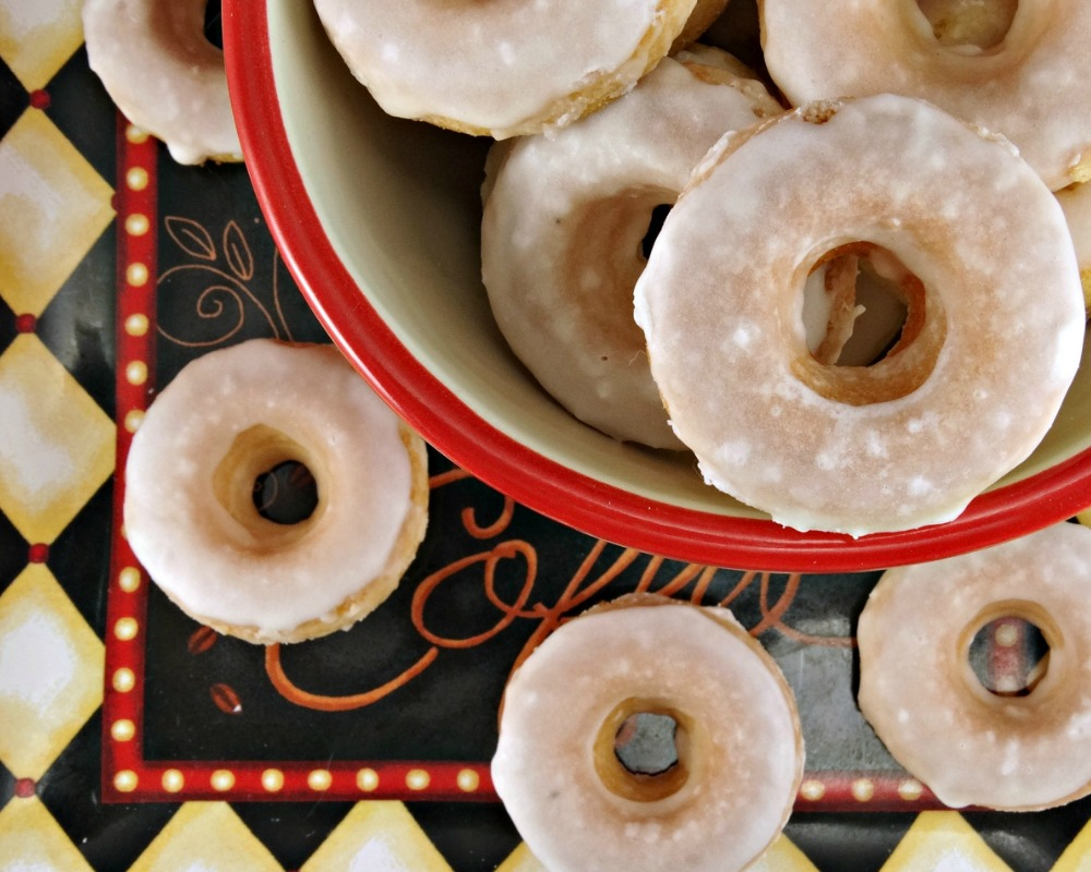 mini baked donuts with caramel glaze in bowl