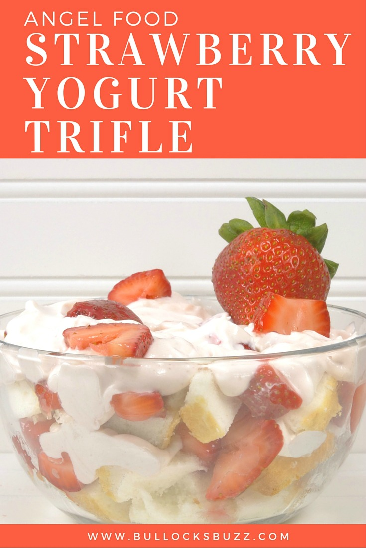 A light and refreshing sensational summer dessert that's super easy to put together, looks impressive and tastes absolutely amazing; Angel Food Strawberry Yogurt Trifle!