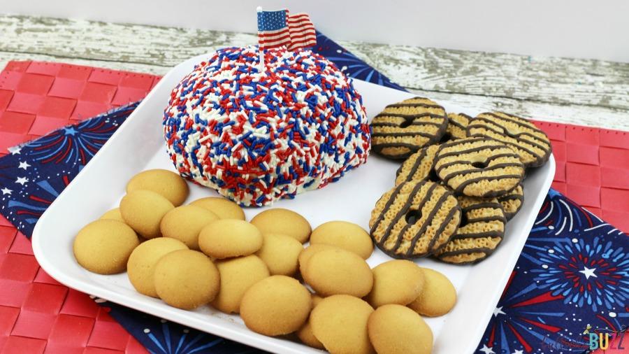 easy Patriotic Funfetti Cake Cheese Ball
