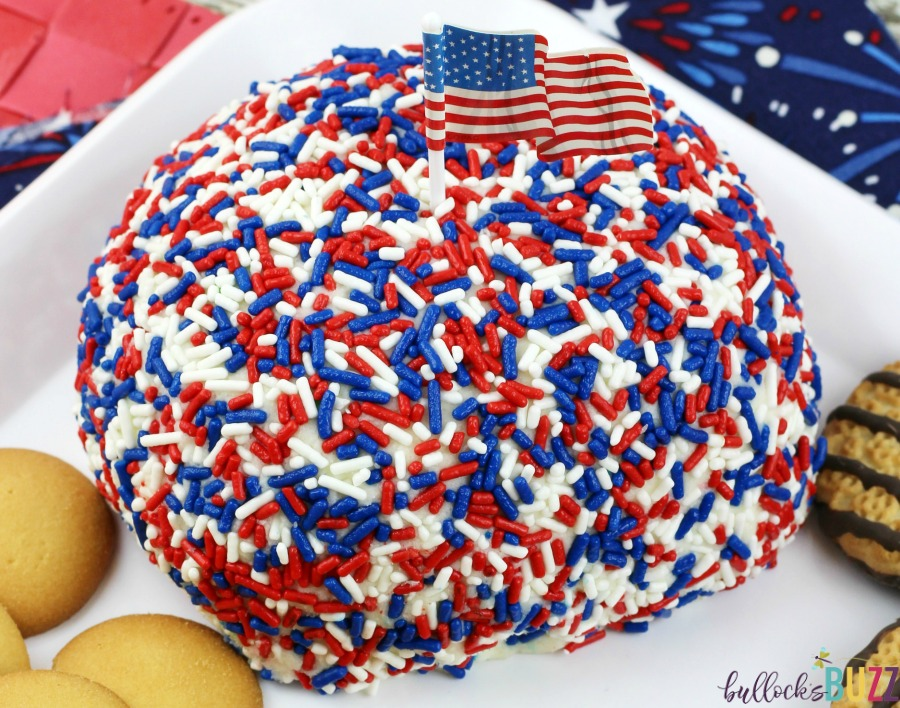 Patriotic Funfetti Cake Cheese Ball deliciously sweet!
