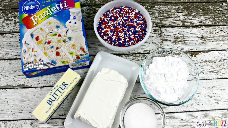 Patriotic Funfetti Cake Cheese Ball ingedients