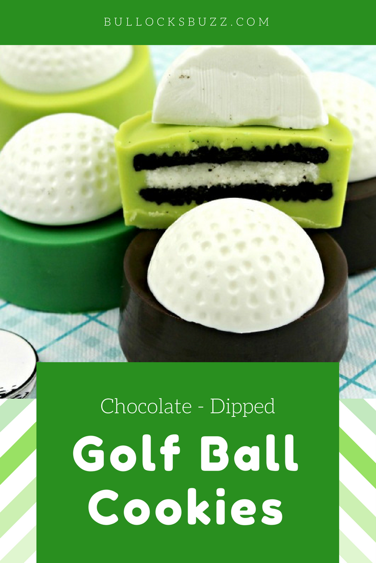 Double-stuffed Oreos are dipped in colored candy melts then topped with white chocolate golf balls in this deliciously-cute Golf Ball Cookies recipe.