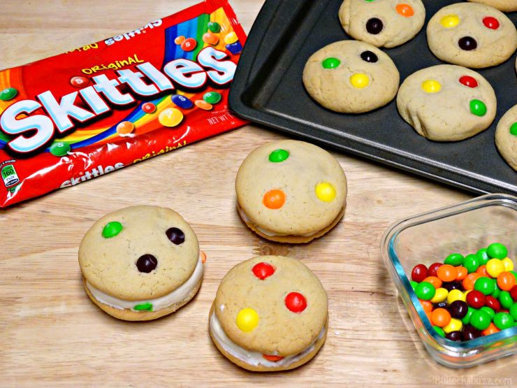 Creamy vanilla ice cream is sandwiched between two soft and chewy made-from-scratch Skittles sugar cookies in these tasty Skittles® Cookie Ice Cream Sandwiches. More frozen recipes in addition to S'mores Pudding Pops
