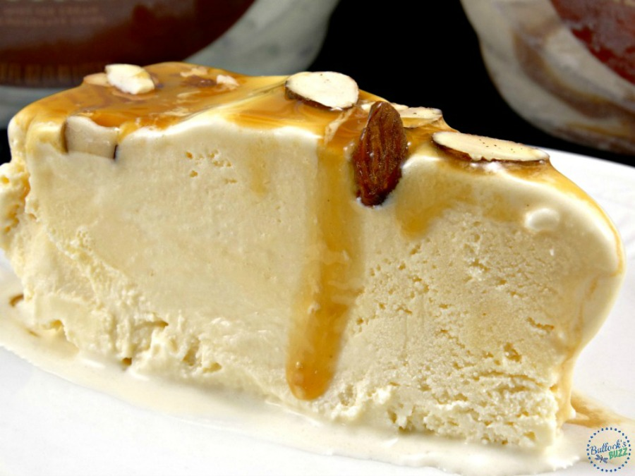 Creamy vanilla ice cream topped with buttery caramel and crunchy almonds make this Caramel Almond Vanilla Ice Cream Torte a great way to beat the heat!More frozen recipes in addition to S'mores Pudding Pops