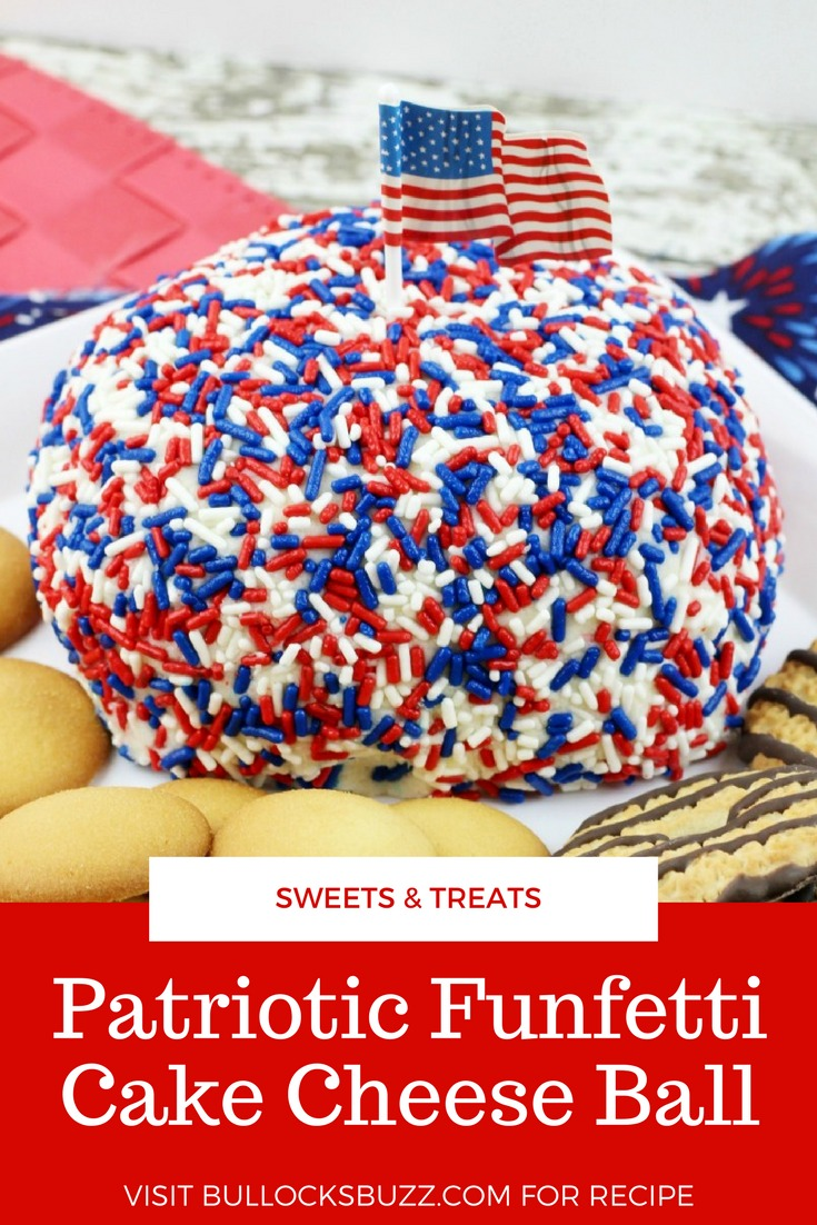 Colorful Funfetti cake mix is shaped into a ball, dipped in red, white and blue jimmies, then served as a dip in this deliciously sweet Patriotic Funfetti Cake Cheese Ball.