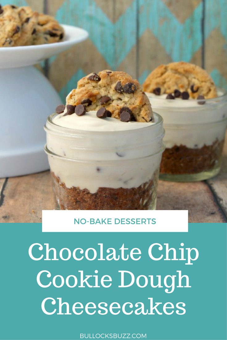 Rich, smooth creamy cheesecake served on top of crunchy chocolate chip cookie dough crust, and topped with a golden brown chocolate chip cookie and a sprinkle of chocolate chips in these amazing No Bake Chocolate Chip Cookie Dough Cheesecakes.