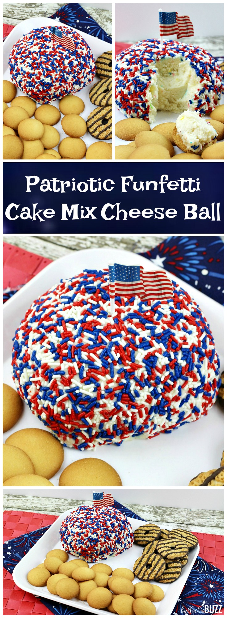 Add some sweetness to your 4th of July holiday celebration with this easy-to-make, no bake patriotic recipe! Colorful Funfetti cake mix is shaped into a ball, dipped in red, white and blue jimmies, then served as a dip in this deliciously sweet Patriotic Funfetti Cake Cheese Ball.
