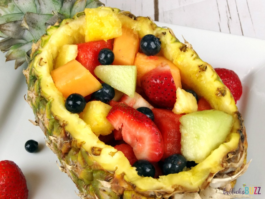 Pineapple Boat Fruit Salad so colorful!