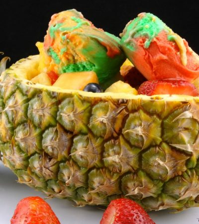 Pineapple Boat Fruit Salad with Sherbet – Tropical Dessert