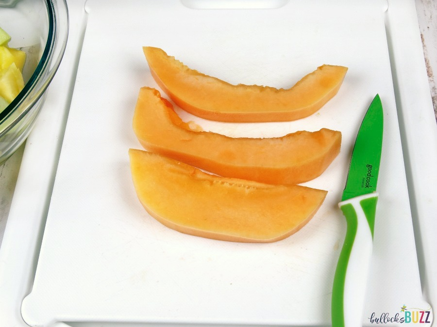 Pineapple Boat Fruit Salad dice cantaloupe