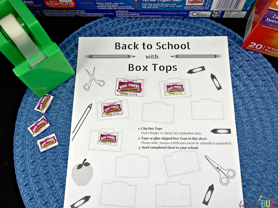 3 Ways to Help Your Child's School + Free Box Tops Collection Sheet in use