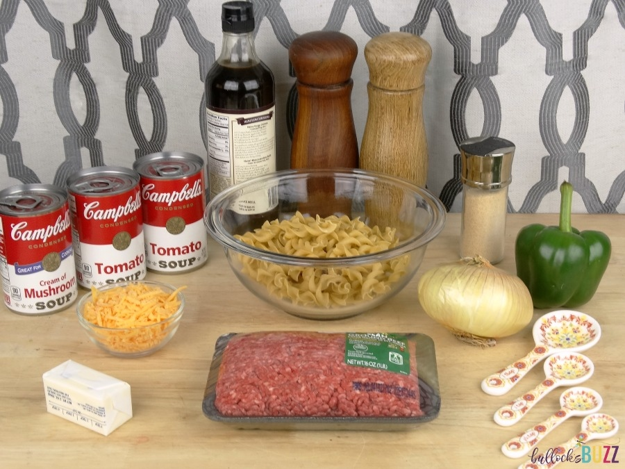 Cheesy Beef and Noodle Casserole ingredients