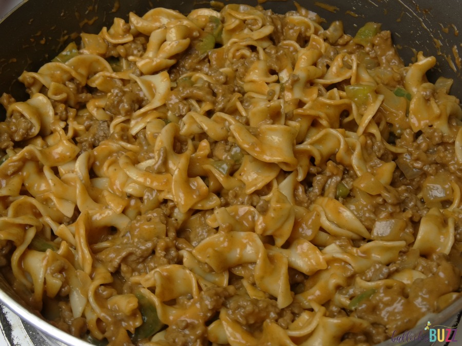 Cheesy Beef and Noodle Casserole add in cooked pasta
