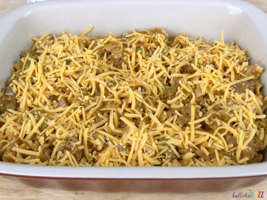 Cheesy Beef and Noodle Casserole cover with cheddar cheese