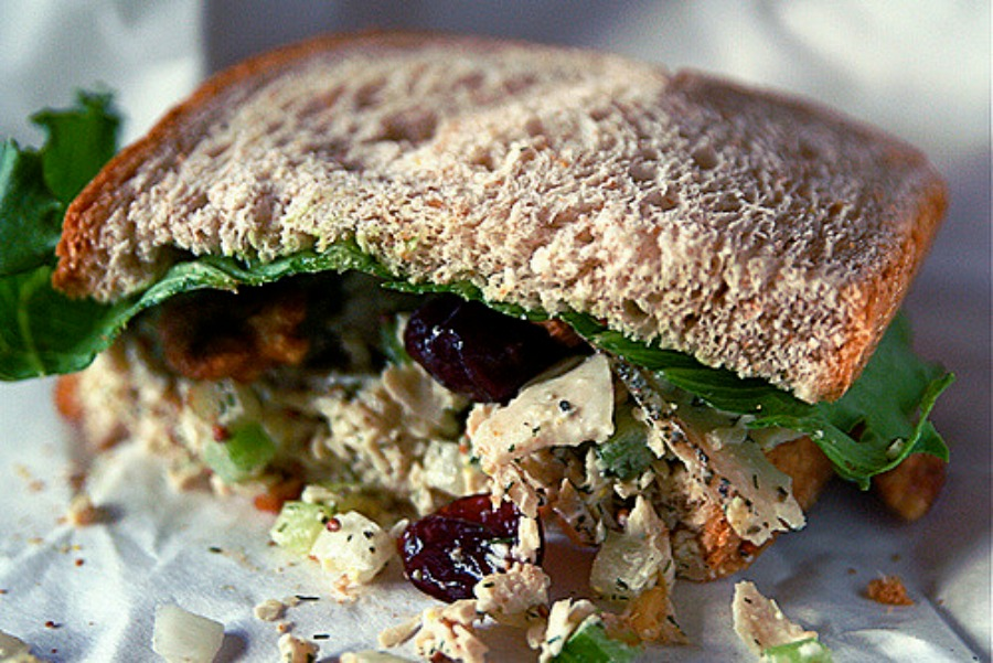 inexpensive Recipes Using Fresh Herbs herbed chicken salad sandwich