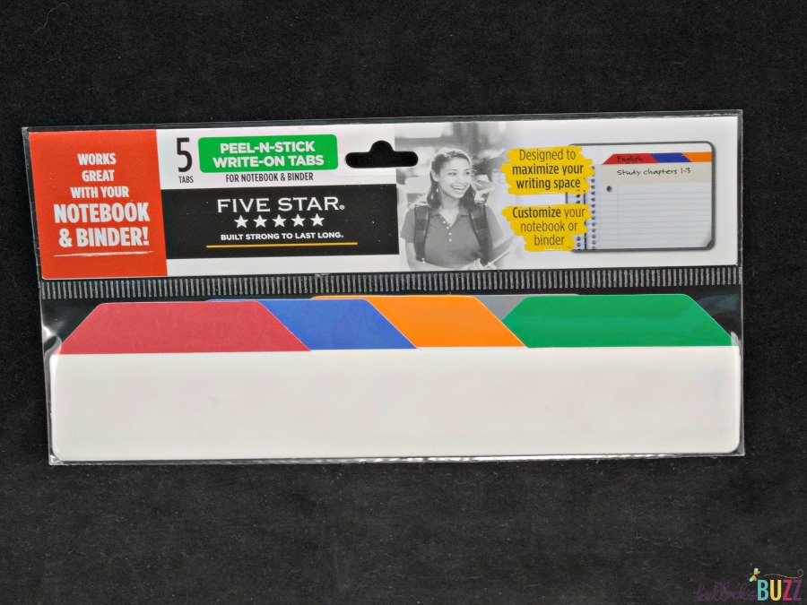 peel-n-stick write on tabs school supplies from Five Star