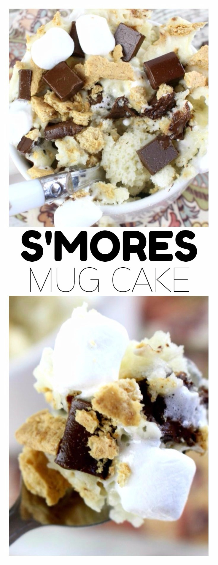 Packed full of chocolate, marshmallows and graham cracker crumbs, you can enjoy the summery flavor of s'mores in less than five minutes with this delicious and simple microwavable S'mores Mug Cake recipe! No campfire needed.
