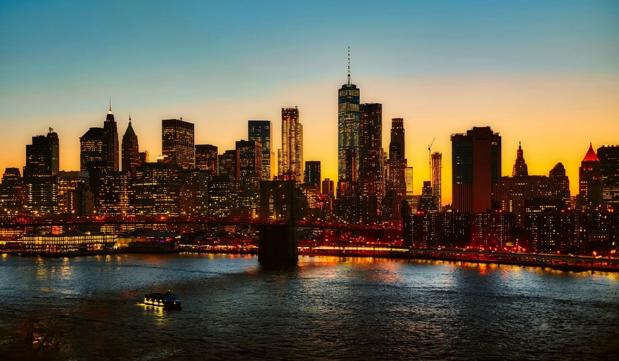 visiting new york city at sunset