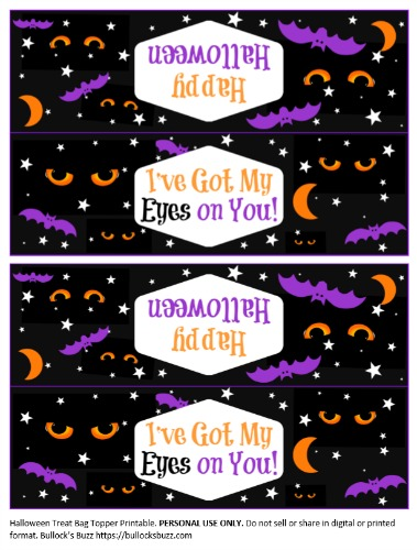 Halloween Treat Bag Toppers free printable click this image