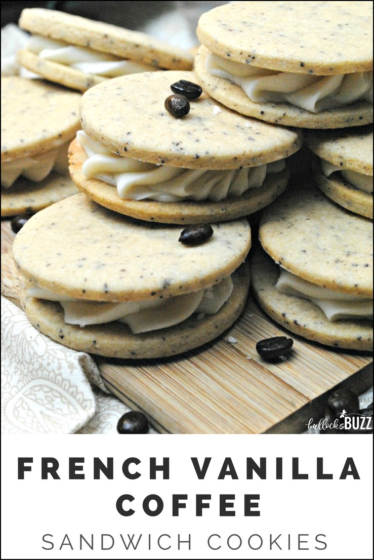Vanilla and Coffee is a match made in heaven in this French Vanilla Coffee Sandwich Cookies recipe! Sweet and creamy vanilla frosting is sandwiched between two delectable cookies made with real french vanilla coffee.