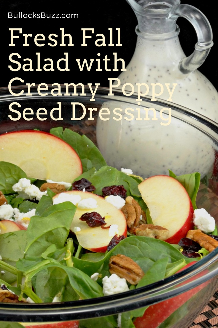 Crisp apples, sweet dried cranberries, hearty walnuts and goat cheese come together in this fresh Fall salad with a delectable creamy poppy seed dressing.