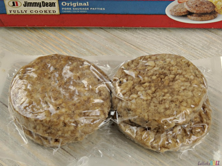 Remove sausage patties from packaging and cut into quarters for the Sausage, Egg and Herbed Cheese Breakfast Muffins