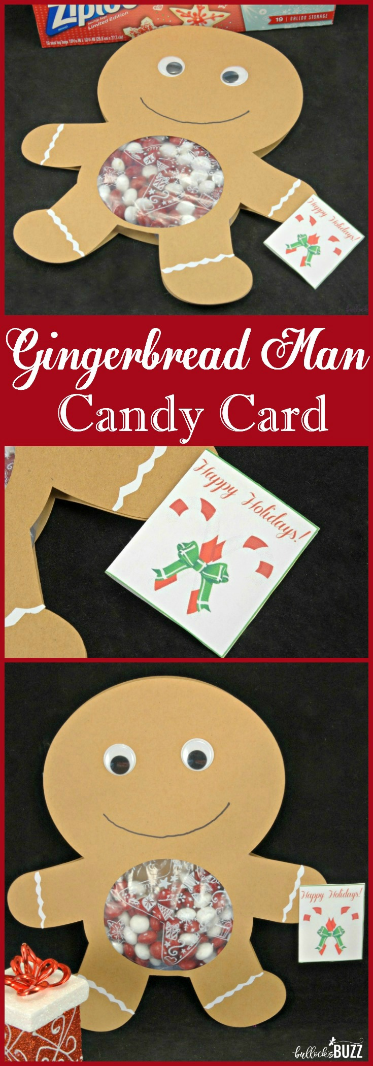 This gingerbread man candy card is a sweet and adorable way to spread some holiday cheer to friends and family