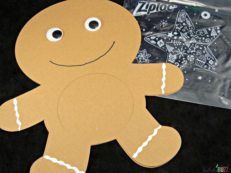Ziploc Holiday Bags Gingerbread Man Candy Card use glue and markers to decorate top gingerbread man