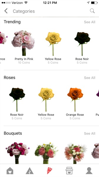 flowerling app flower selections