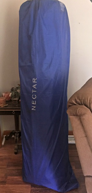 nectar mattress arrives in a blue bag