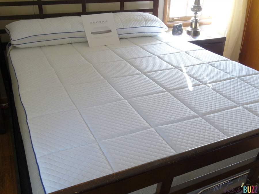 nectar mattress fully set up with pillows