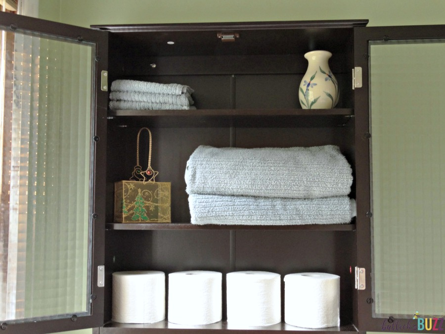 preparing your home for holiday houseguests products from walmart bath cabinet