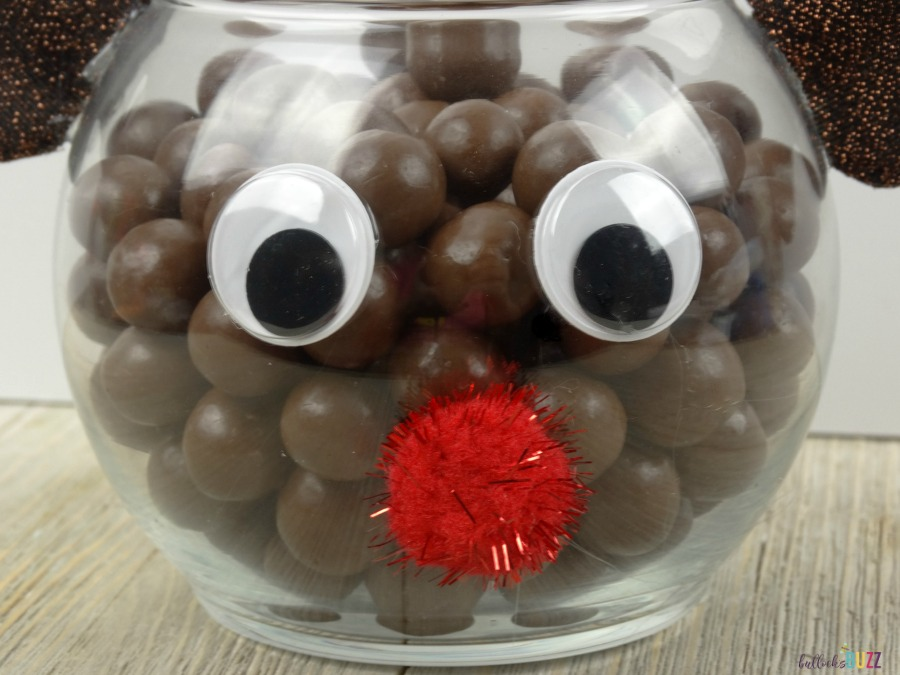 DIY Rudolph Christmas Candy Jar fill with candy