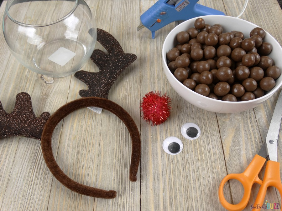 Supplies to make DIY Rudolph Christmas Candy Jar
