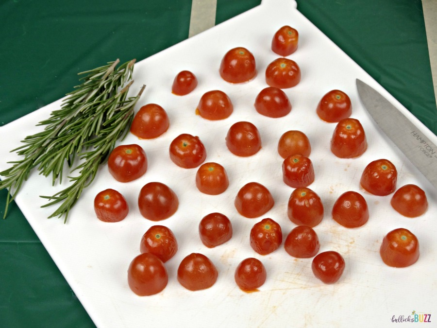 Rosemary, Tomato & Herbed Cream Cheese Bites game day recipe slice tomatoes
