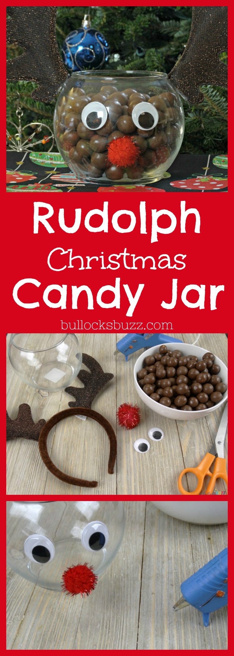 An adorable Rudolph Christmas Candy Jar that is filled with chocolate covered malt balls, takes just minutes to make and costs less than $5! It's the perfect addition to your holiday decor, or as part of a holiday candy bar, and even makes a sweet little gift!
