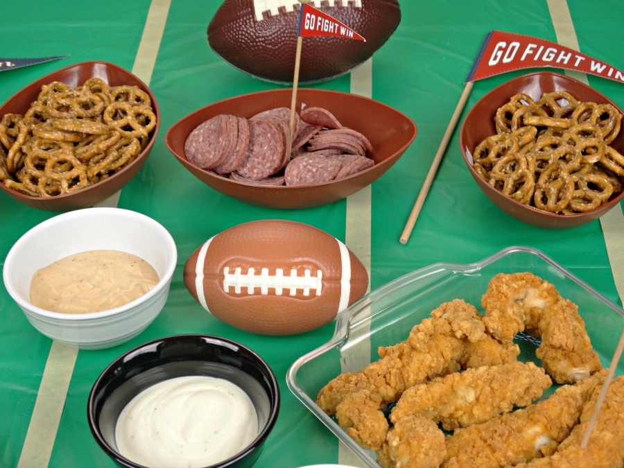 Game Day Tabletop tailgating appetizers large selection of foods