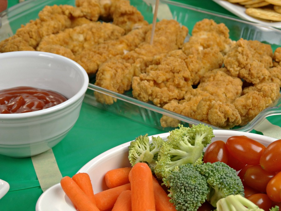 tabletop tailgating appetizers chicken fingers and fresh veggies