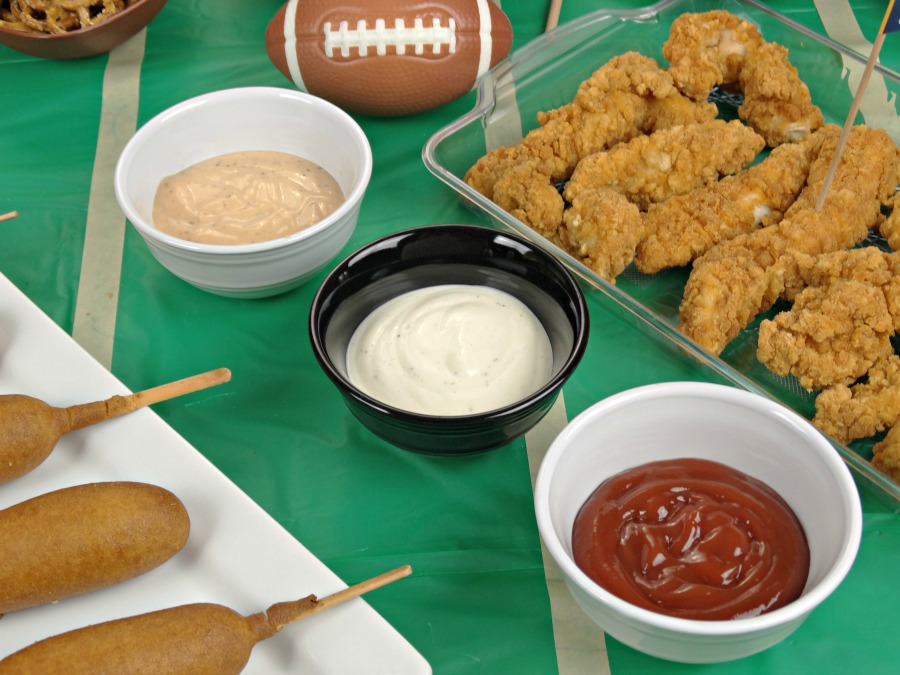 lots of dipping sauces for tabletop tailgating appetizers