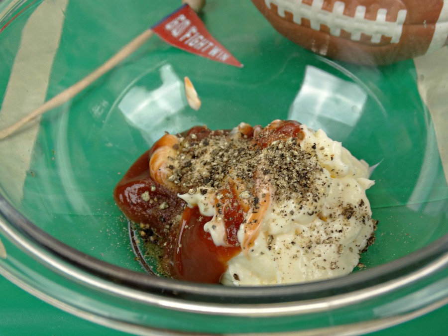combine all ingredients in a large bowl to make game day dipping sauce for tailgating appetizers