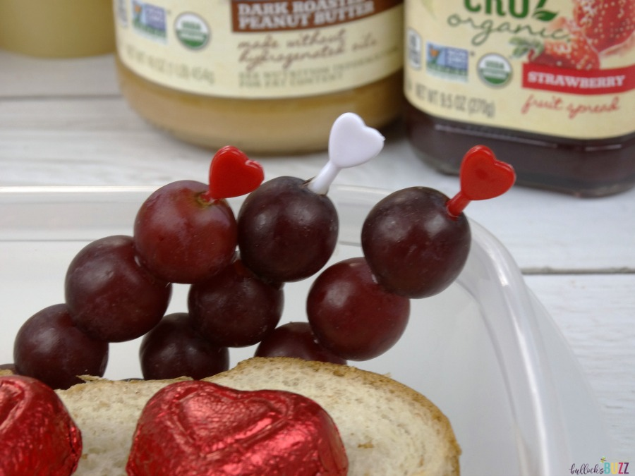 Valentine's Day Lunch for Kids grapes on Cupids Arrow skewers