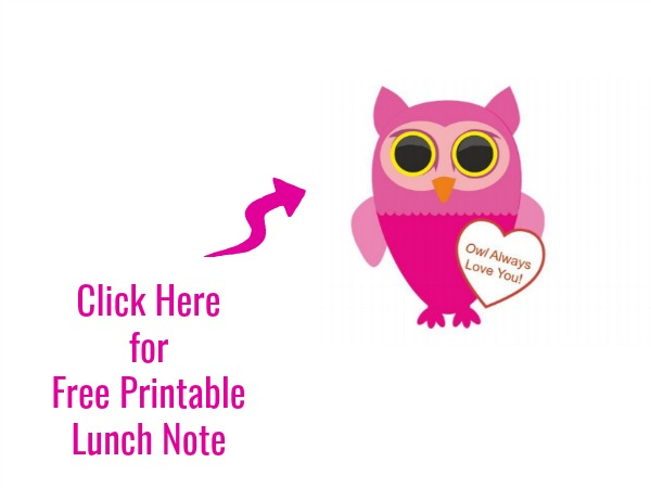 Valentine's Day Lunch for Kids free printable lunch note Owl Always Love You