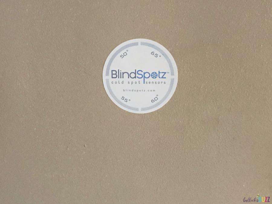 Rub BlindSpotz sensor until grey then stick to wall part of DIY Draft stopper