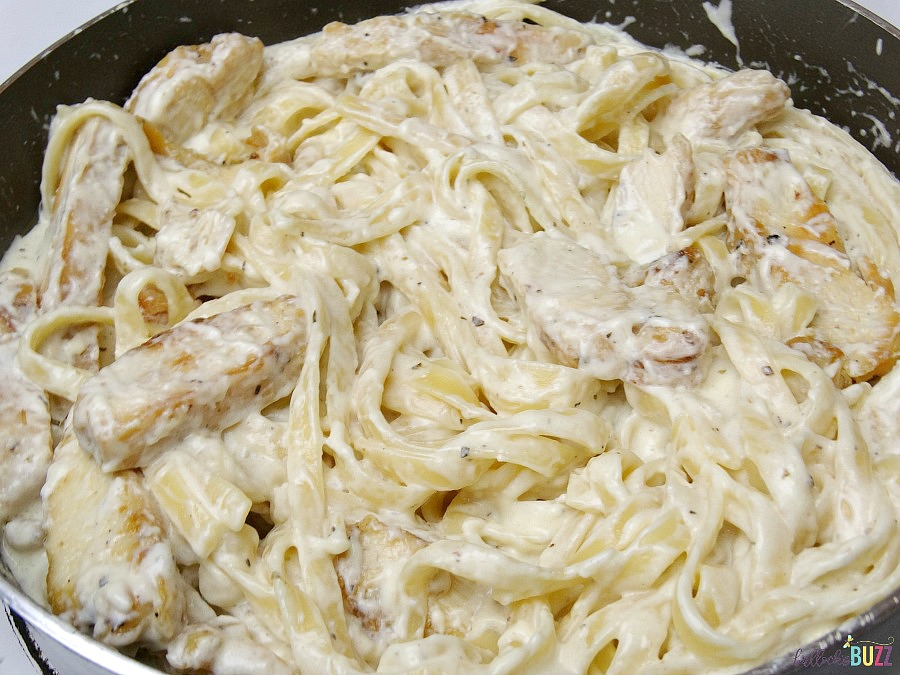 Next add the chicken Chicken Fettuccine Alfredo with Homemade Alfredo Sauce