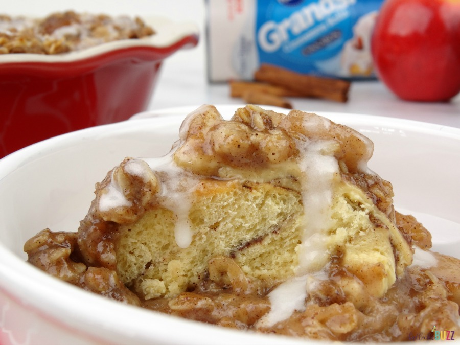 Cinnamon Roll Apple Crumble made with Pillsbury Grands!™ Refrigerated Cinnamon Rolls with Cream Cheese Icing