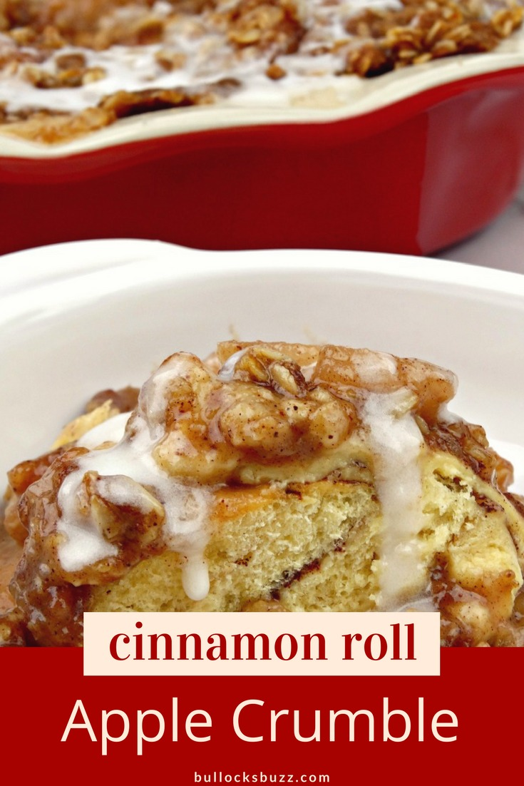 In this delectable Cinnamon Roll Apple Crumble recipe, warm gooey cinnamon buns are smothered in crisp apple pie filling then topped with a crunchy cinnamon and brown sugar crumble. Warm cream cheese icing crowns this delightful dessert.