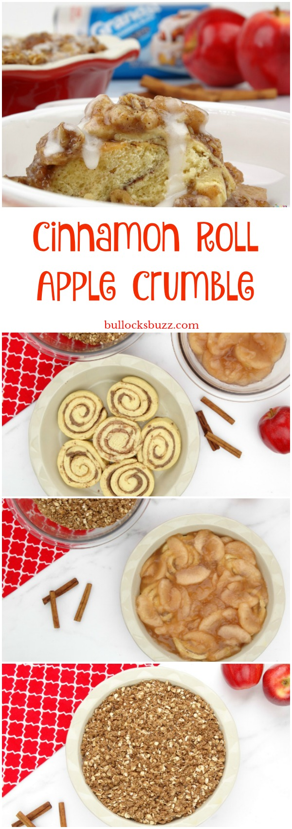 Warm gooey cinnamon buns are covered in crisp apple pie filling, topped with a sweet cinnamon and brown sugar crumble, and then drizzled with a warm cream cheese icing in this delightful Cinnamon Roll Apple Crumble dessert recipe.